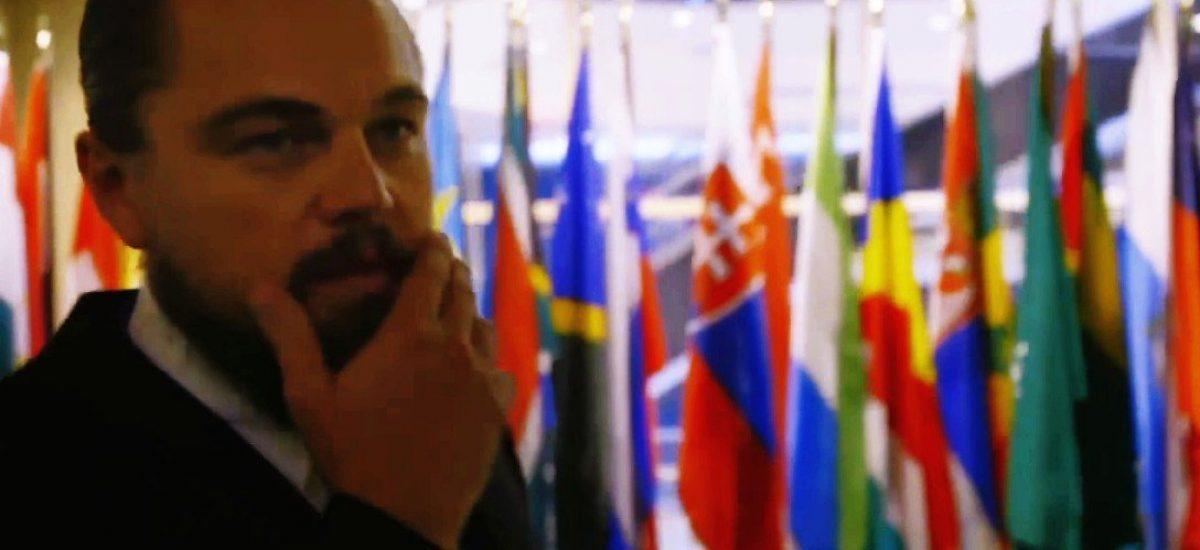 Leonardo DiCaprio pri slovenskej vlajke v sídle OSN