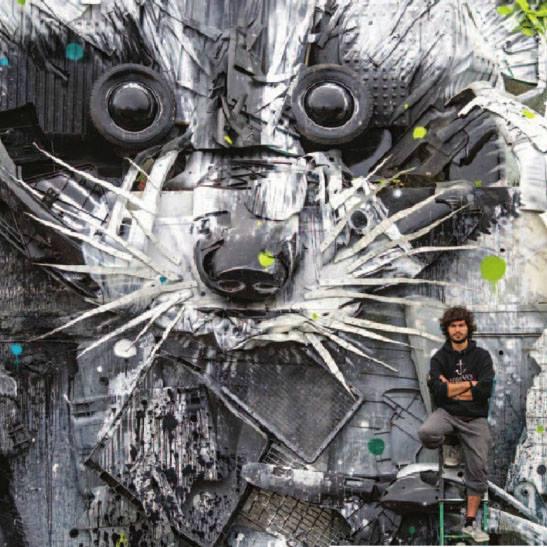 Zo smetí vytvára fascinujúci zvierací street art: Pozrite si práce tohto nevšedného umelca