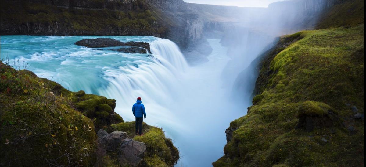 Island záber na vodopád