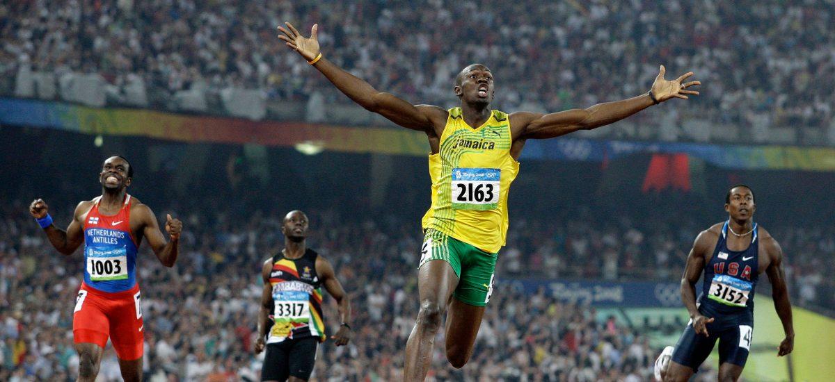 Usain Bolt v cieľovej rovinke